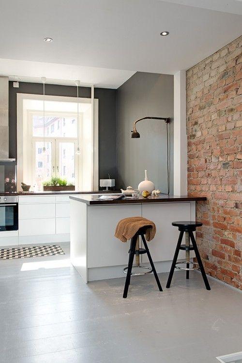Cocinas y ladrillo caravista inspiraci n para la casa m y a ana pla interiorismo y decoraci n - Woonkeuken american ...
